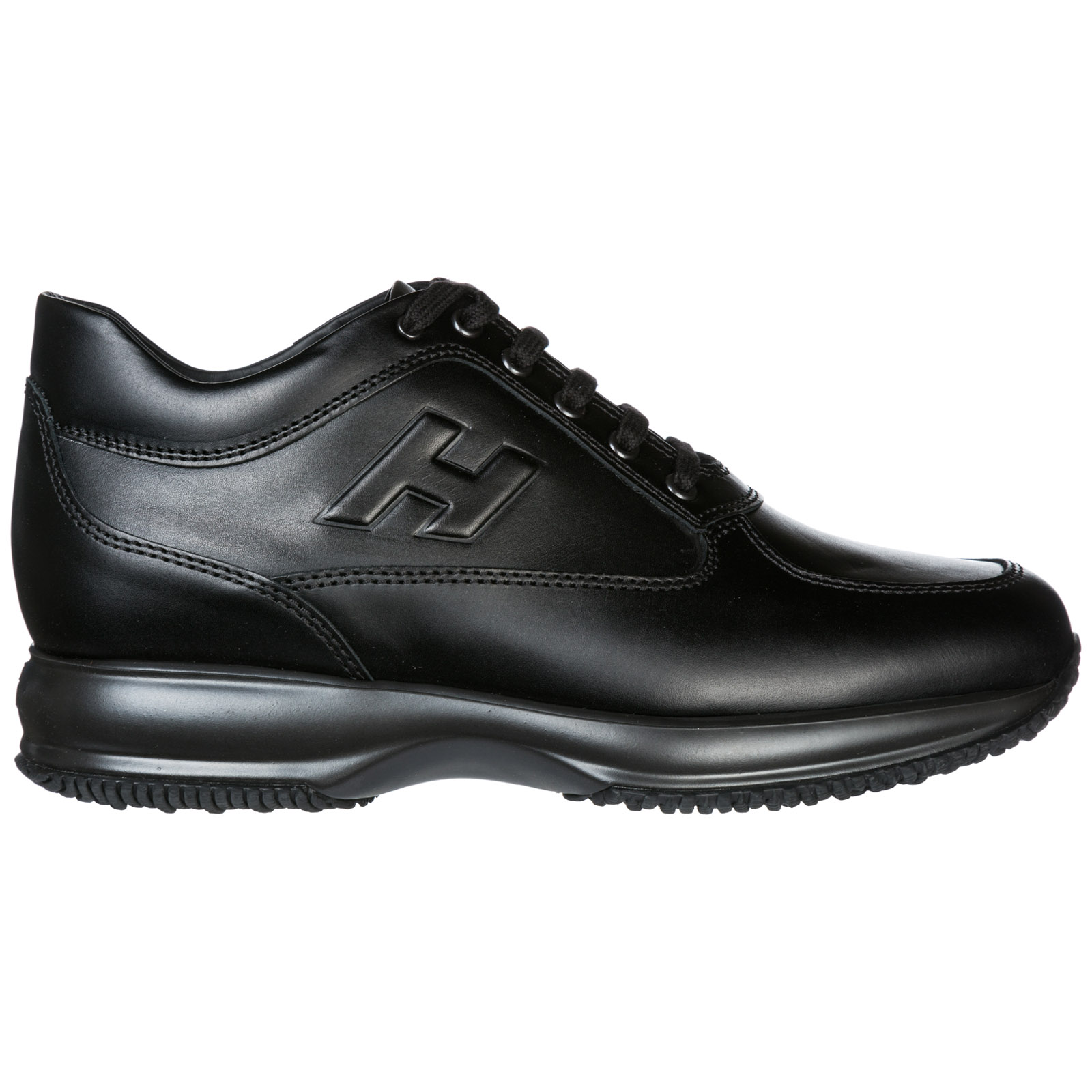 Hogan Men's Shoes Leather Trainers Sneakers Interactive In Black ...