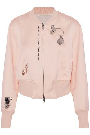 4a9f81343 3.1 Phillip Lim Woman Embellished Crepe Bomber Jacket Baby Pink