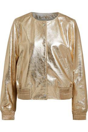 809a32b2b Meteo By Yves Salomon Woman Metallic Leather Bomber Jacket Gold