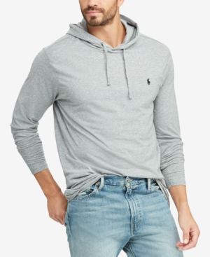Men's Big & Tall Hooded Long Sleeve T-shirt In League Heather