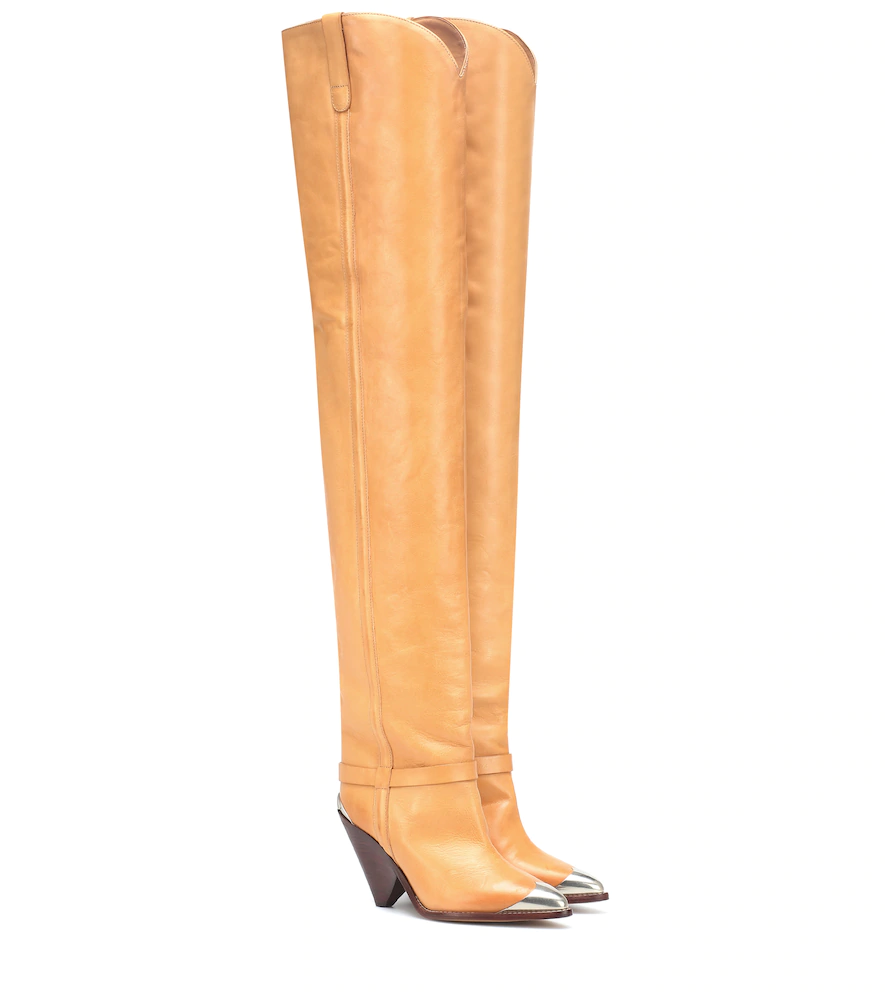 8e03ea899a9 Isabel Marant Lafsten Embellished Leather Over-The-Knee Boots In Tan ...