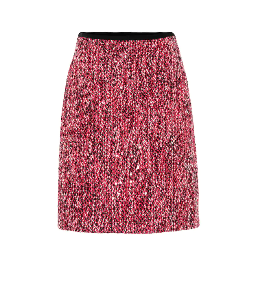 GUCCI SEQUINED TWEED SKIRT,P00343050