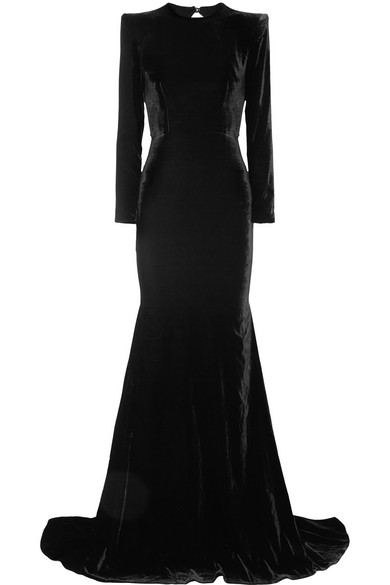 Alex Perry Cutout Velvet Gown In Black |