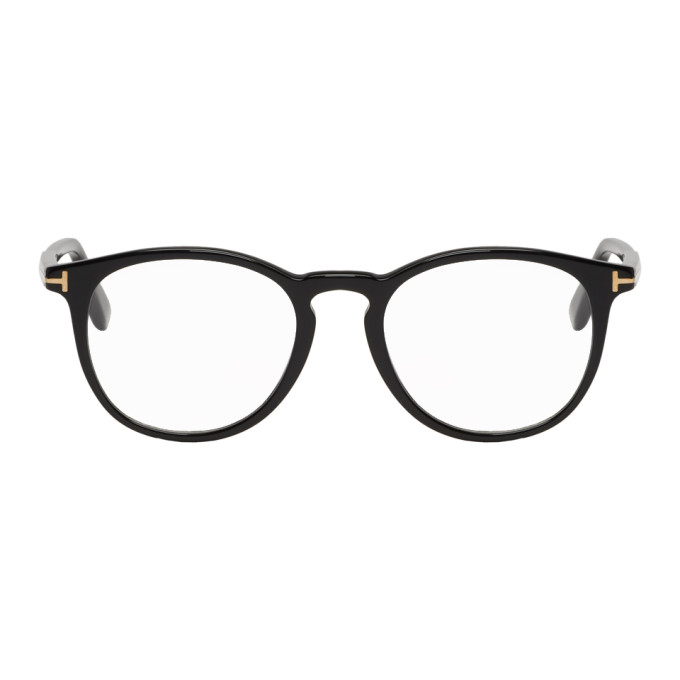 08609f913 Tom Ford Black Soft Round Glasses In 001Shinyblk   ModeSens