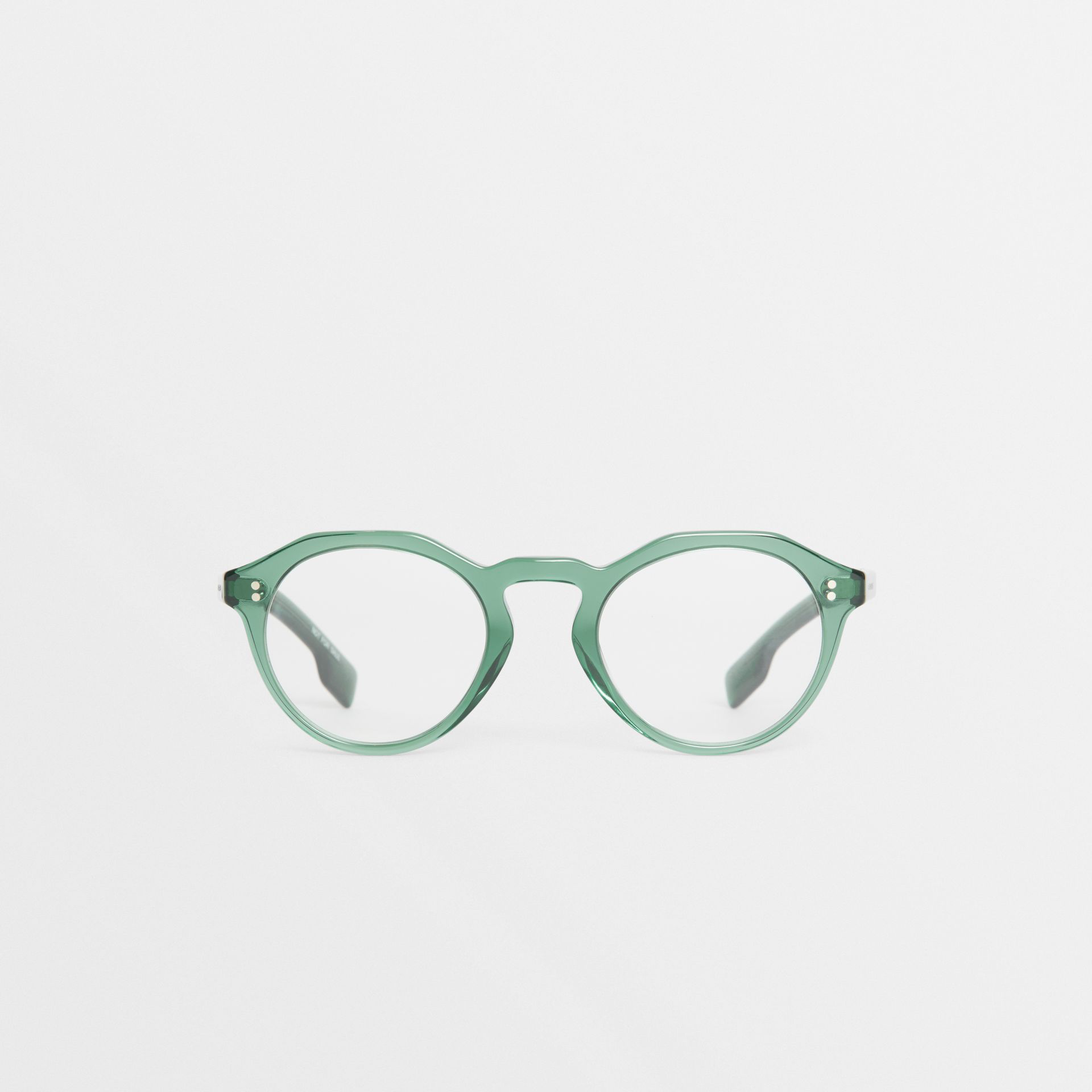 d4b8e45870f10 Burberry Keyhole Round Optical Frames In Green Modesens