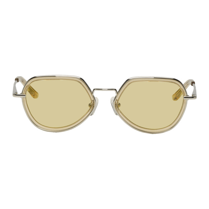 9191e6aa0b5 Dries Van Noten Yellow And Silver Linda Farrow Edition Almond Sunglasses In  Lemon Silve