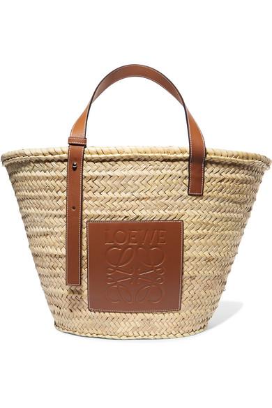 26d0dfe389c Loewe Leather-Trimmed Woven Raffia Medium Basket Bag In Tan   ModeSens