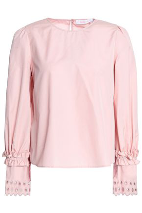 268e45c0 See By Chloé Woman Broderie Anglaise-Trimmed Cotton-Poplin Top Blush