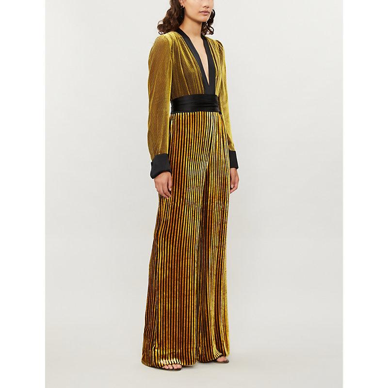 0cfaf6bfc4a Diane Von Furstenberg Satin-Trimmed Striped DevorÉ-Velvet Jumpsuit In Golden  Rod Cabernet