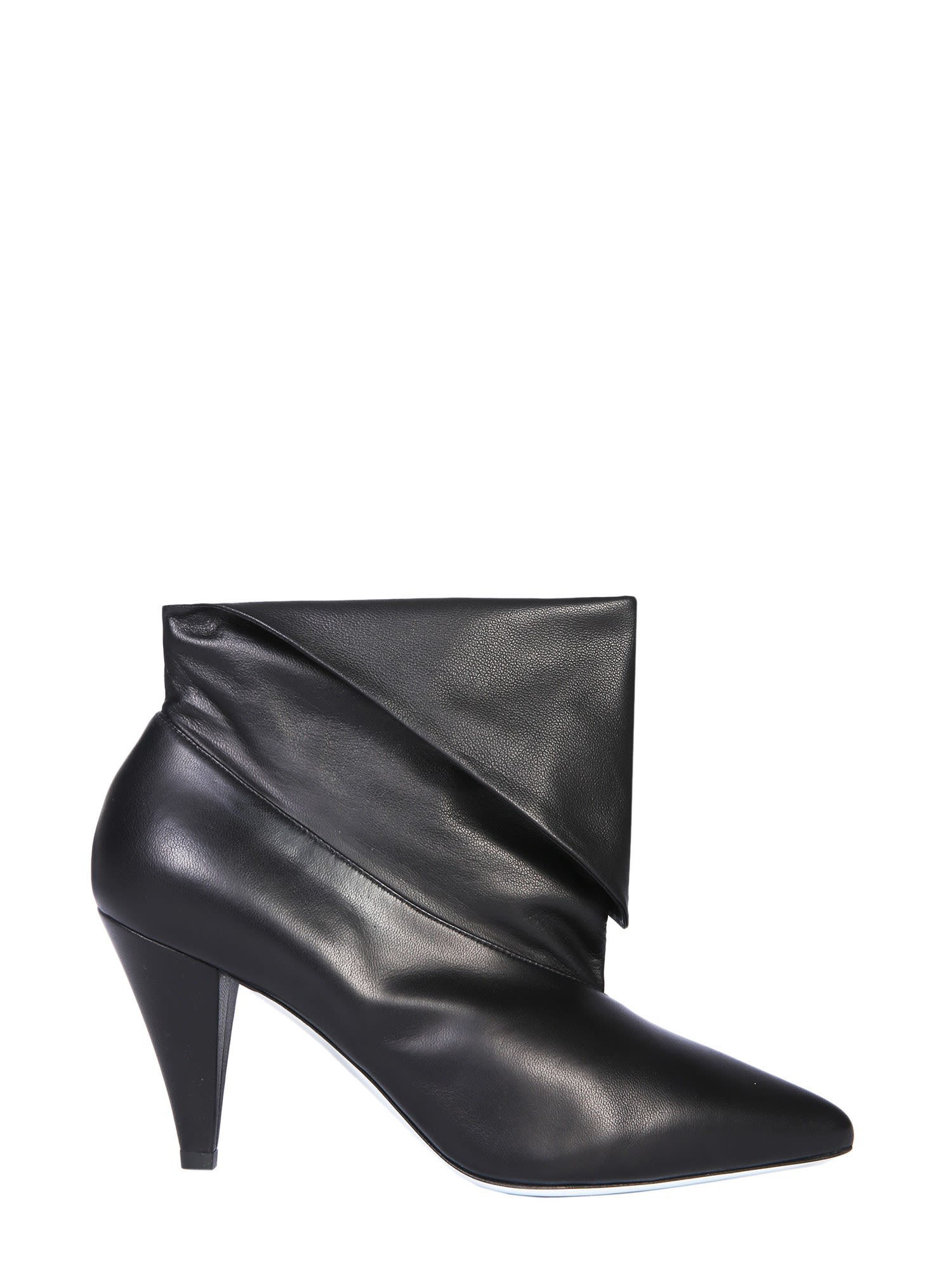 1fa112f7ebca Givenchy Show Leather Folded Cone-Heel Ankle Boots In Black
