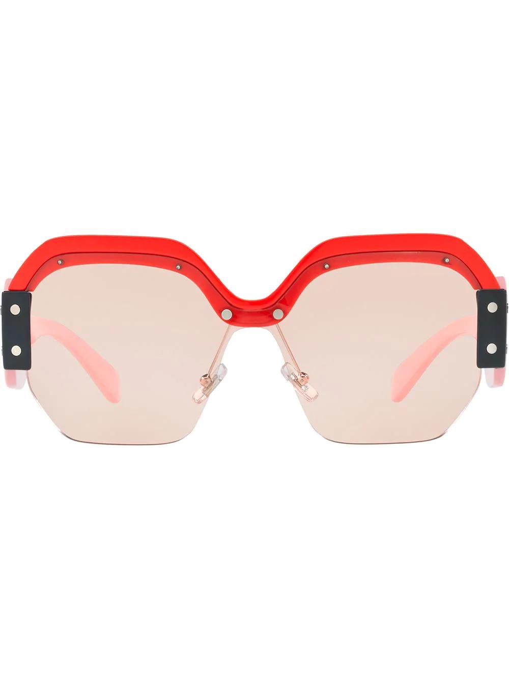 07f6fc4f0f3c96 Miu Miu Eyewear Sorbet Oversized Sunglasses - Red. Farfetch