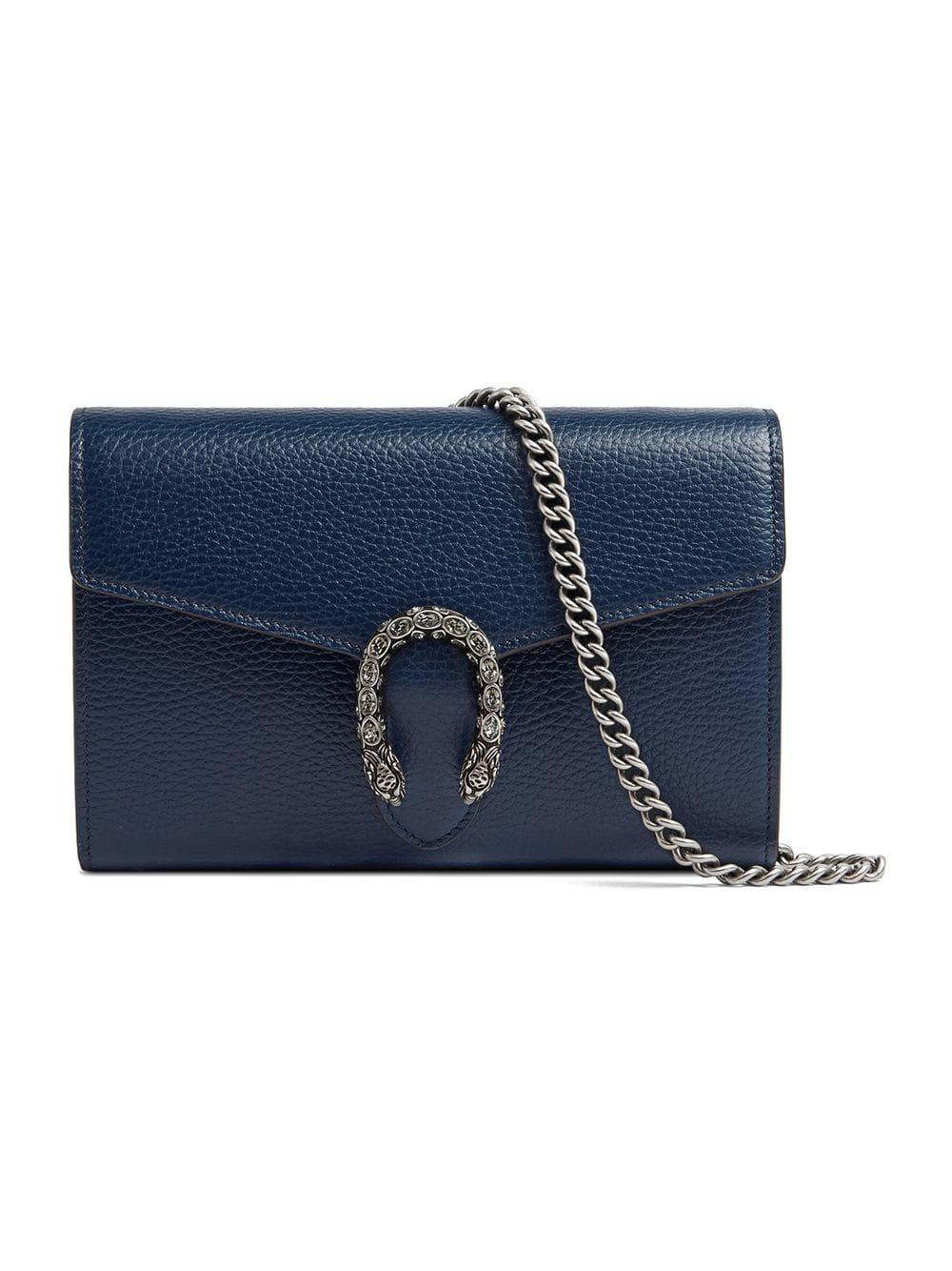 a41a7e401d8 Gucci Dionysus Leather Mini Chain Bag - Blue In 8204 Blue. Farfetch
