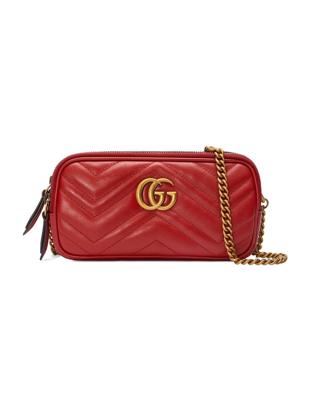c55f70537a84f1 Gucci Gg Marmont Mini Chain Bag - Red | ModeSens