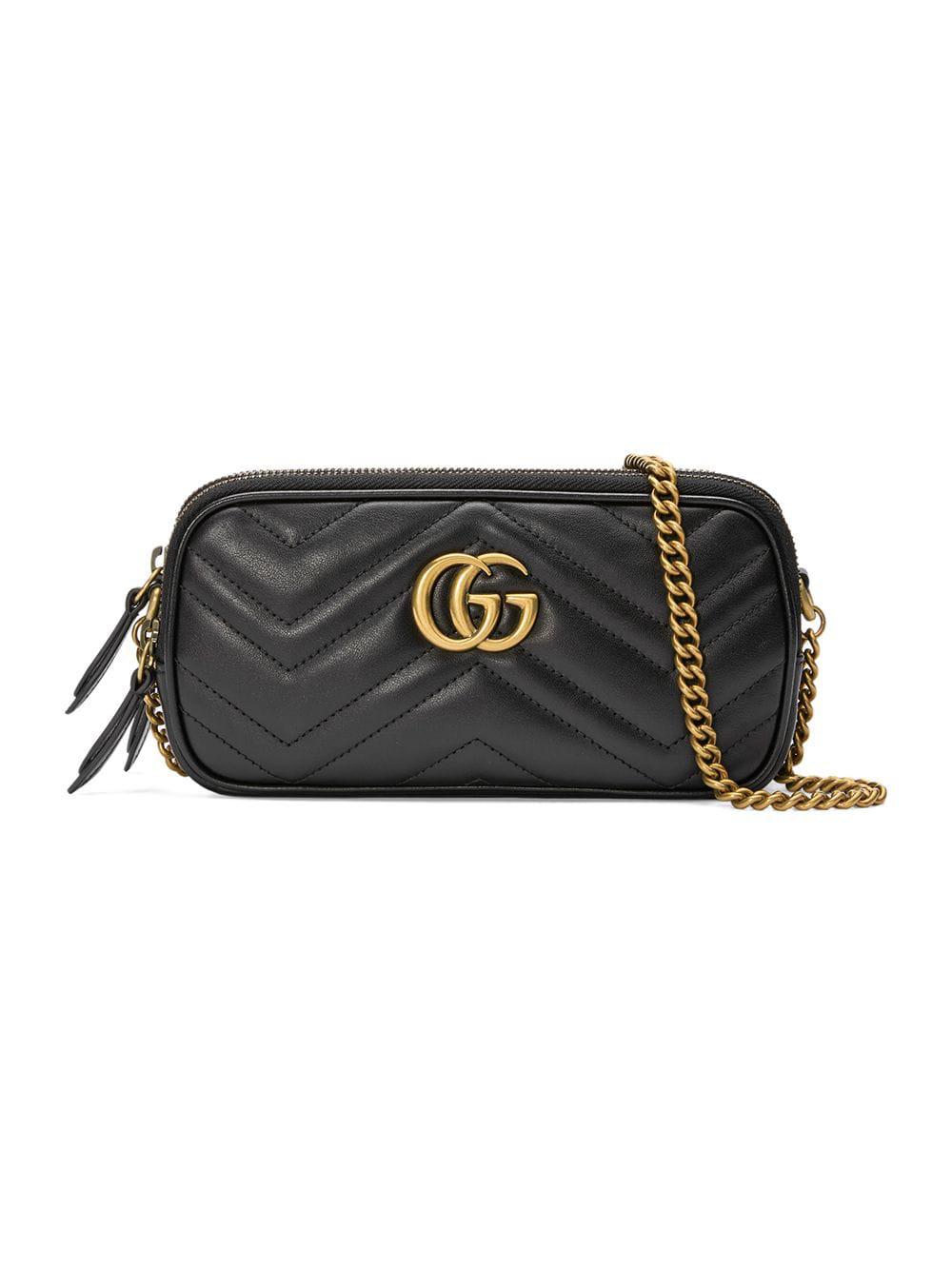 a02bbb34981 Gucci Gg Marmont Mini Chain Bag - Black