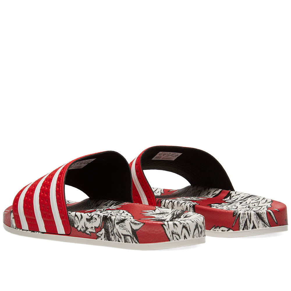 3745e60fa6c8 Adidas Originals Adidas X Farm Adilette Slider Sandals In Tropical Print -  Multi In Red
