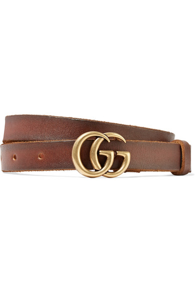 082283a3a74 Gucci Leather Belt With Double G Buckle In 2535 Marrone