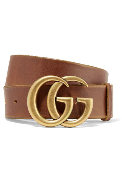 8670cee45 Gucci Leather Belt With Double G Buckle In 2535 Marrone | ModeSens