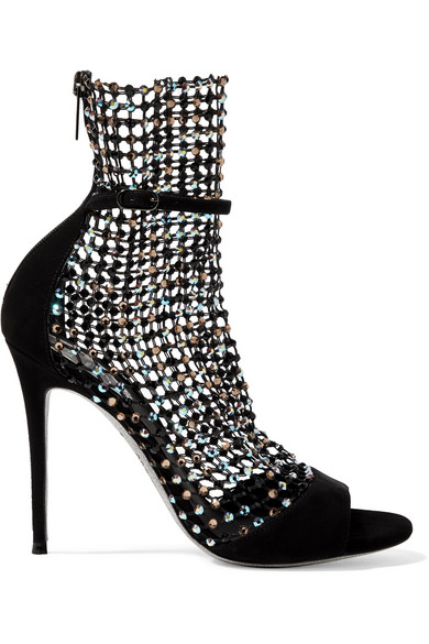 3b080f0acf5 RenÉ Caovilla Crystal-Embellished Mesh And Suede Sandals In Black ...
