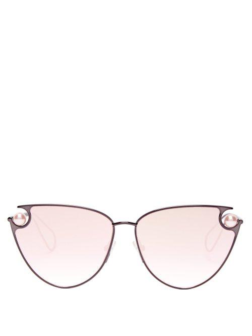 d9d4d78e5d Christopher Kane Pearl-Embellished Cat-Eye Sunglasses In Black ...
