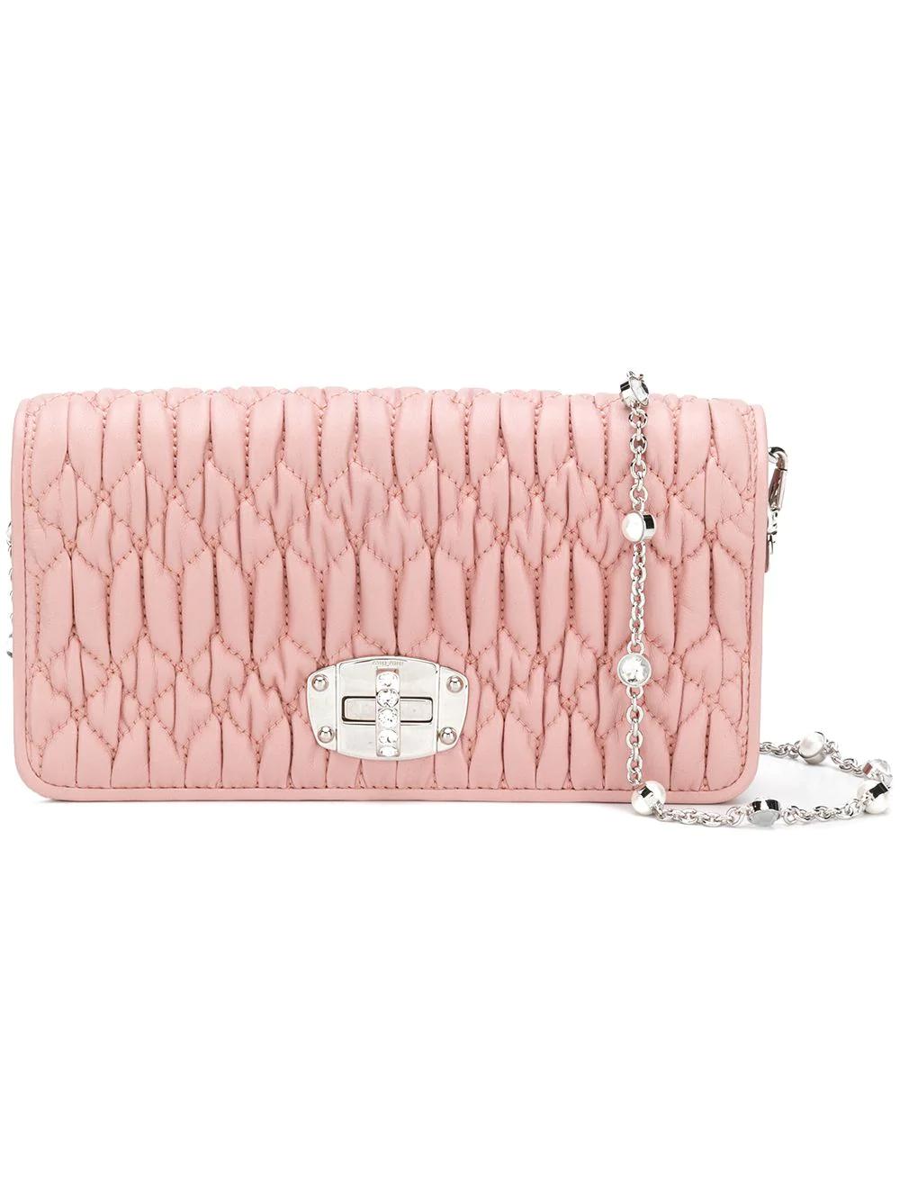 6101af32beb7 Miu Miu Iconic Crystal Matelassé Clutch - Pink