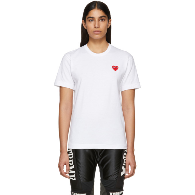 d755cf4bb4a1 Comme Des GarÇOns Play Comme Des Garcons Play White And Red Mens Fit Heart  Patch T