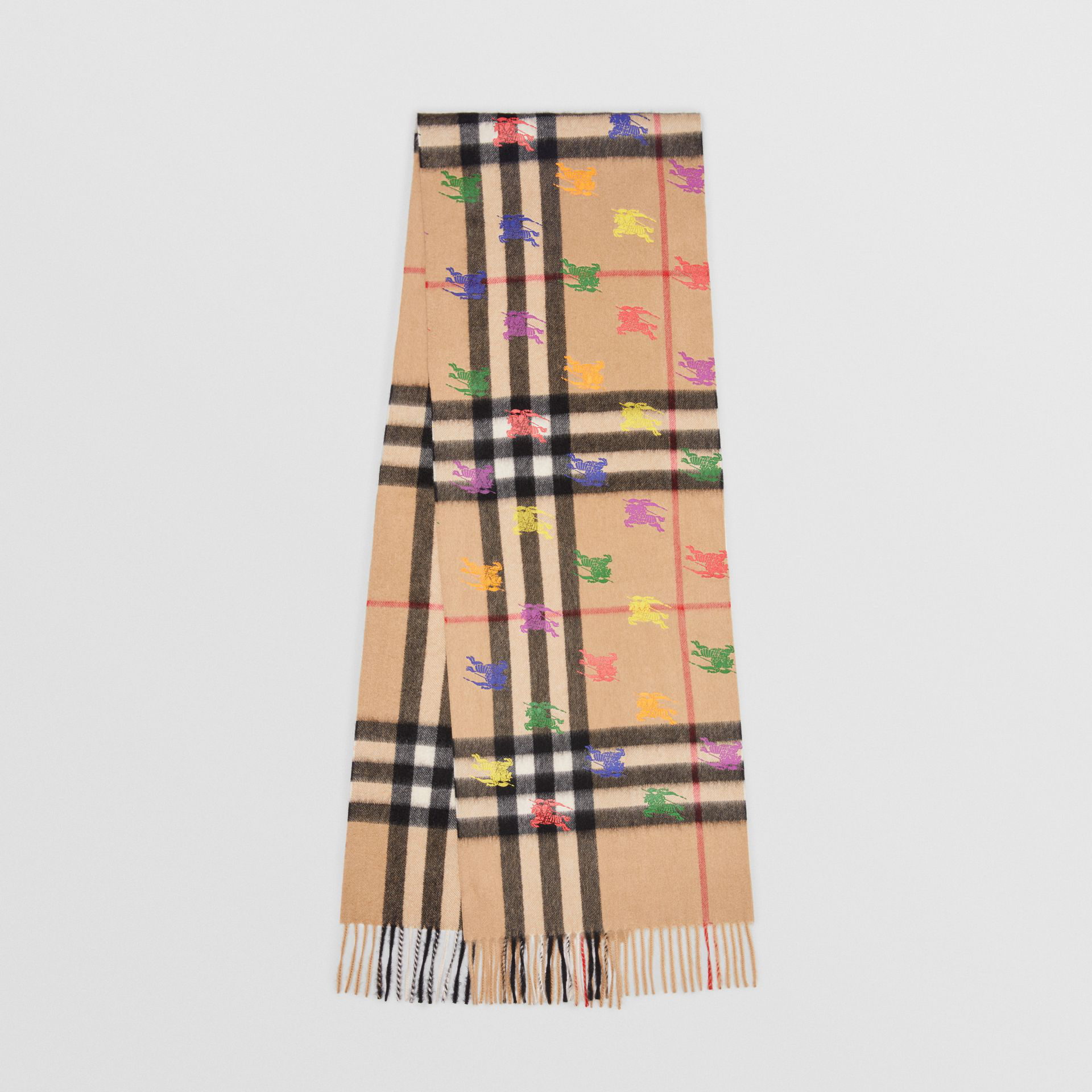 b1966a77b47b5 Burberry The Classic Check Cashmere Scarf In Ekd Print In Camel ...
