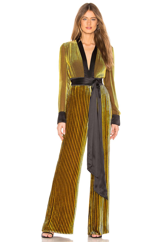 c930dd6931a6 Diane Von Furstenberg Satin-Trimmed Striped DevorÉ-Velvet Jumpsuit In  Golden Rod Cabernet