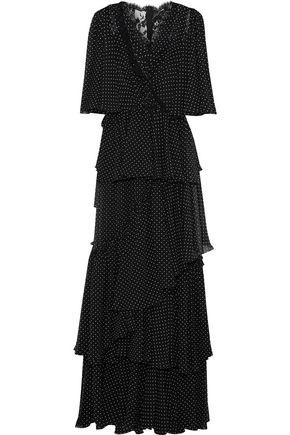 76f1e5339c37a Dolce & Gabbana Woman Lace-Paneled Tiered Polka-Dot Chiffon Maxi Dress Black