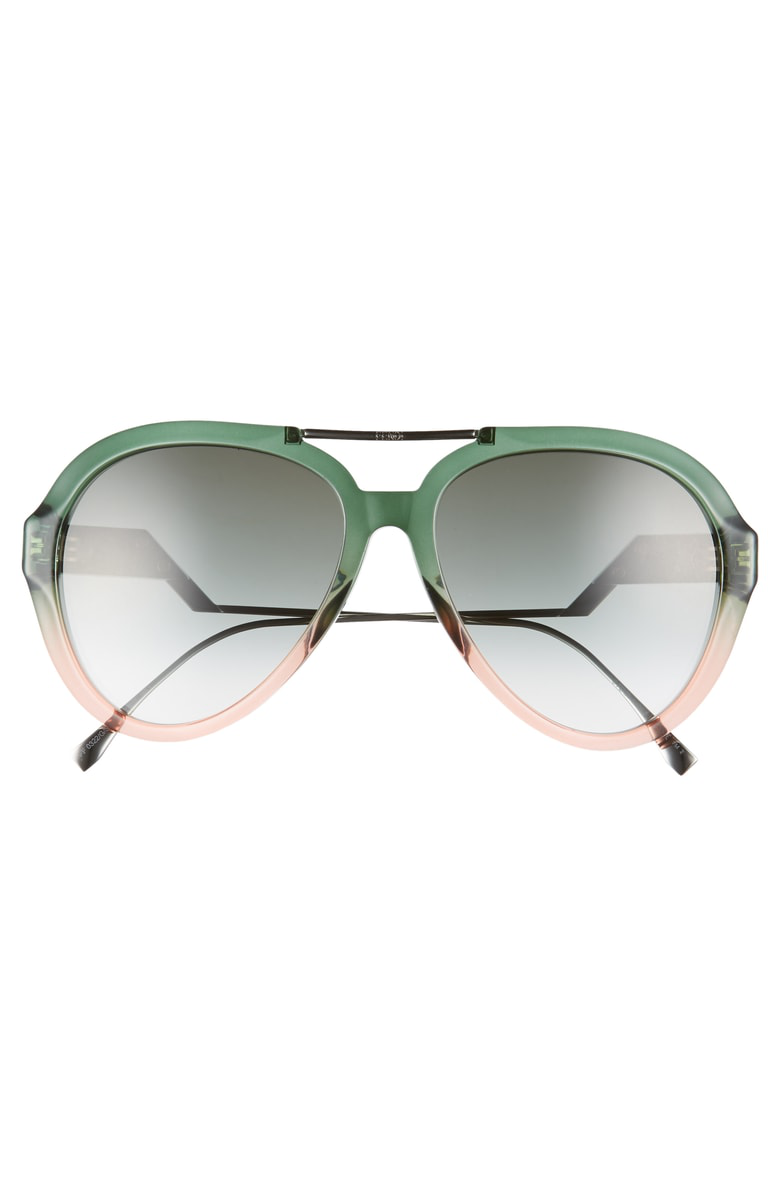 c83051cd6d9 Fendi 58Mm Aviator Sunglasses - Green Pea  Pink