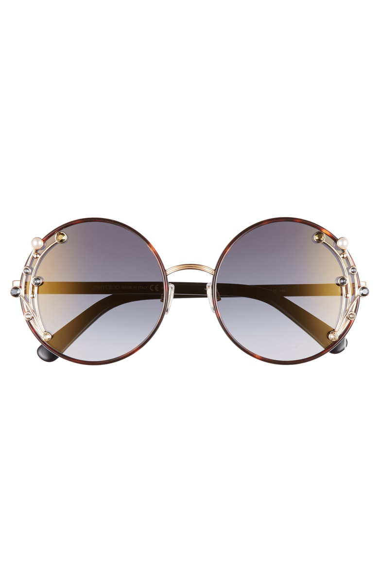 3b99a4b8191 Jimmy Choo Gema 59Mm Round Sunglasses - Dark Havana  Grey Gold ...