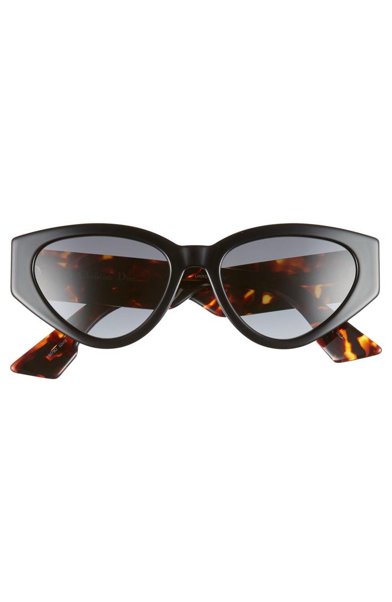 e00f59cb0030 Dior Spirit 2 52Mm Cat Eye Sunglasses - Black In Black Tortoise Grey Grad
