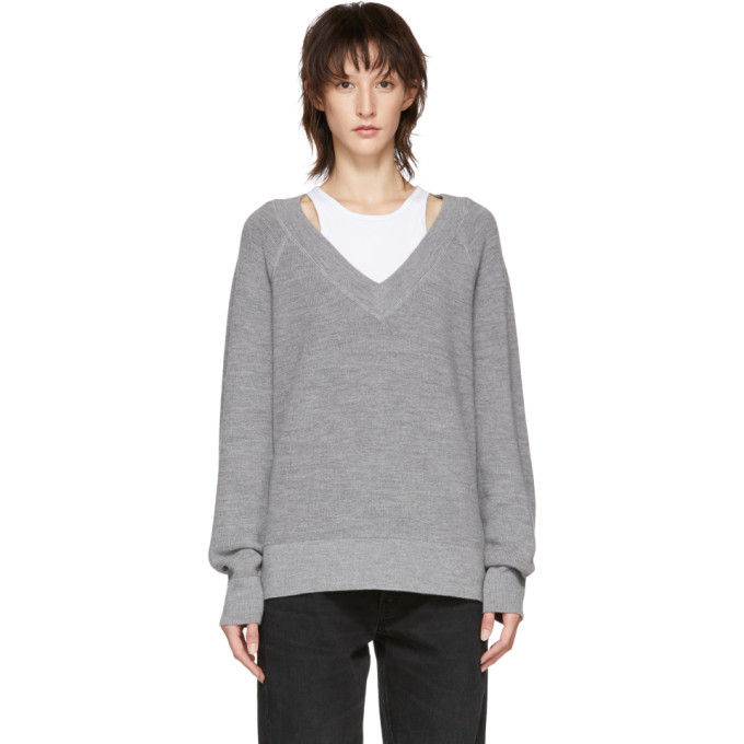 9d992858d243 T By Alexander Wang Alexanderwang.T Grey Inner Tank Raglan Sweater In 905  Grey