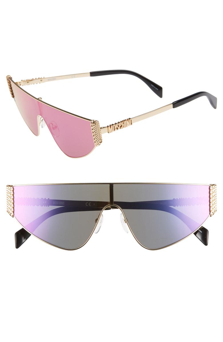 704158c358 MOSCHINO. Women s Mirrored Flat Top Shield Sunglasses