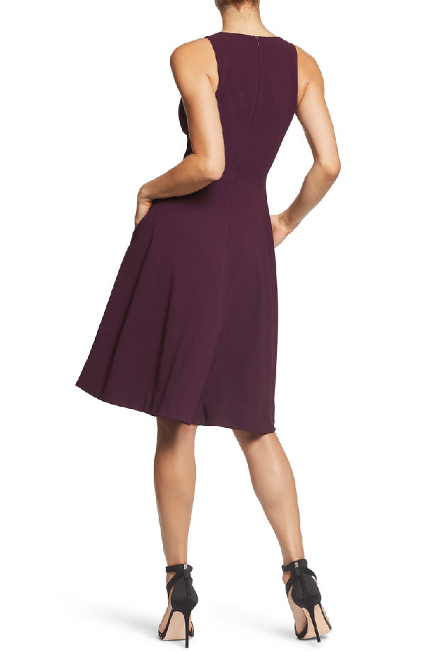 c9ee32c99e95 Dress The Population Catalina Tea Length Fit   Flare Dress In Plum ...