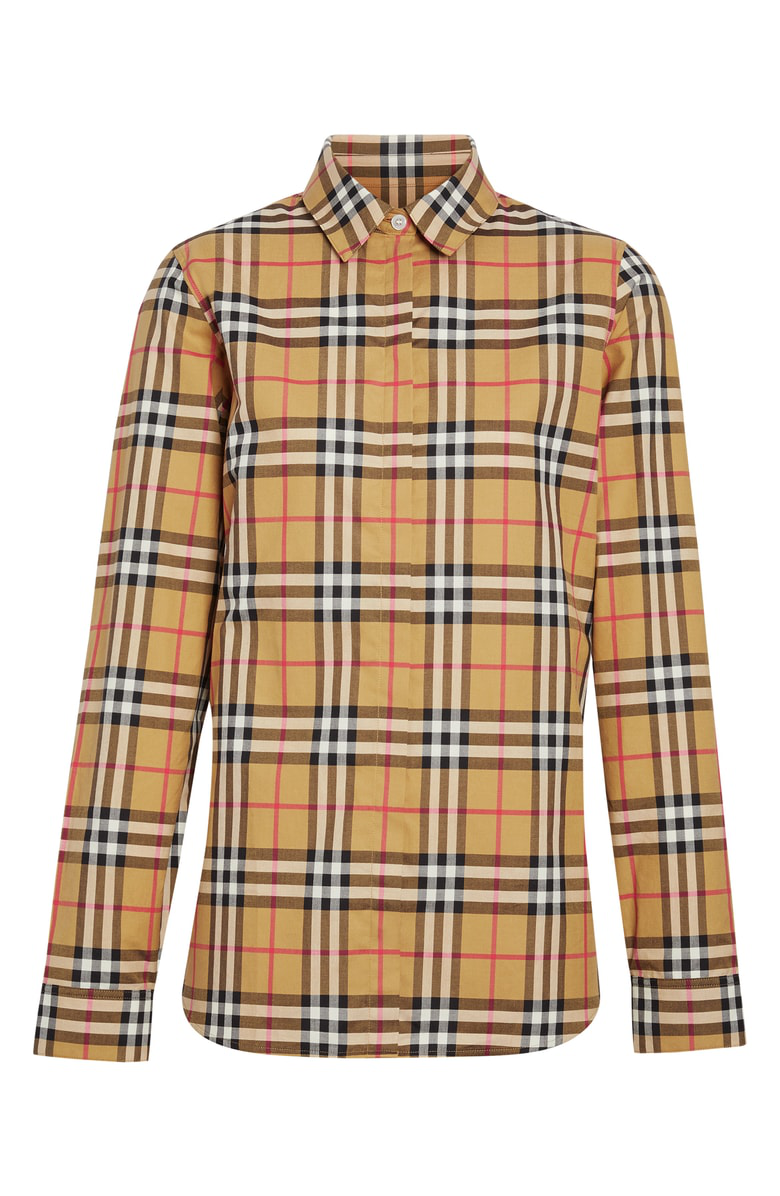 Burberry Loose Check Cotton Poplin Shirt In Brown