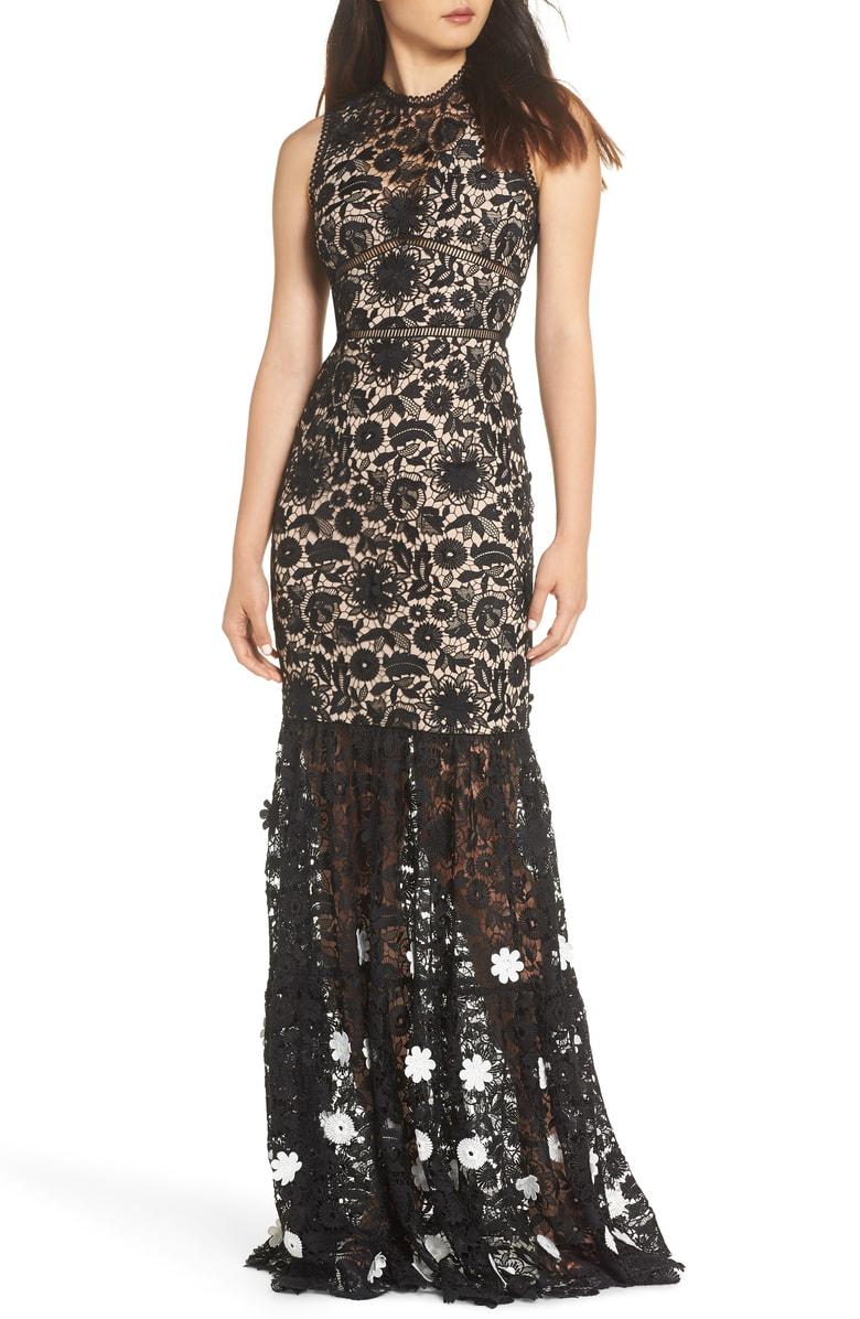 511a8762a3c Ml Monique Lhuillier 3D Black   White Floral Lace Gown In Jet Ivory Combo
