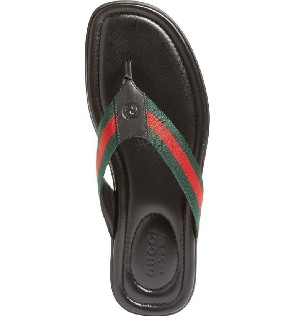 efc5a815227fdc Gucci Gg Line Signature Web Thong Sandal In Black