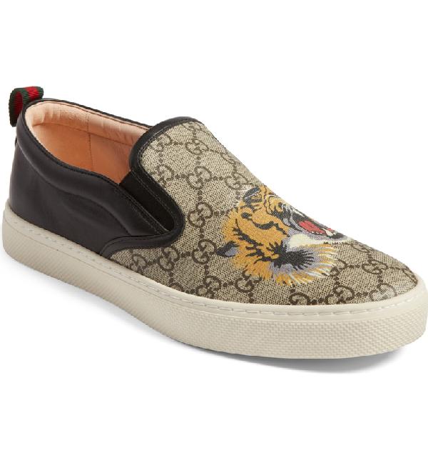 8598e6dc89782 Gucci Sand Brown Black Gg Supreme Slip On Sneakers In Neutrals ...