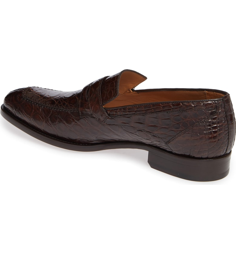 8f8d1d7f152 Mezlan Bixby Genuine Crocodile Penny Loafer In Brown Crocodile Leather