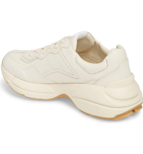Gucci Low-Top Sneakers Rhyton Calfskin Logo  Creamy White