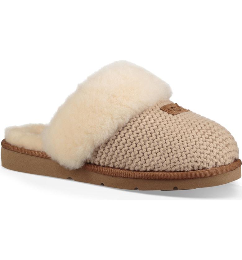 dec499563f7 Cozy Knit Slippers With Sheepskin in Cream