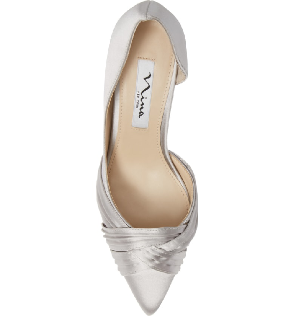 580b72d661a Nina Blakely Half D Orsay Pointy Toe Pump In Silver Satin