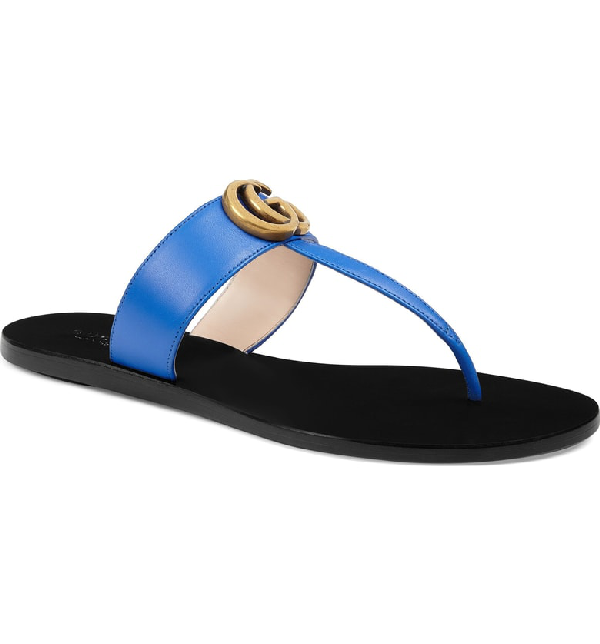 880f8f82391d Gucci Marmont Leather Thong Sandals In Blue