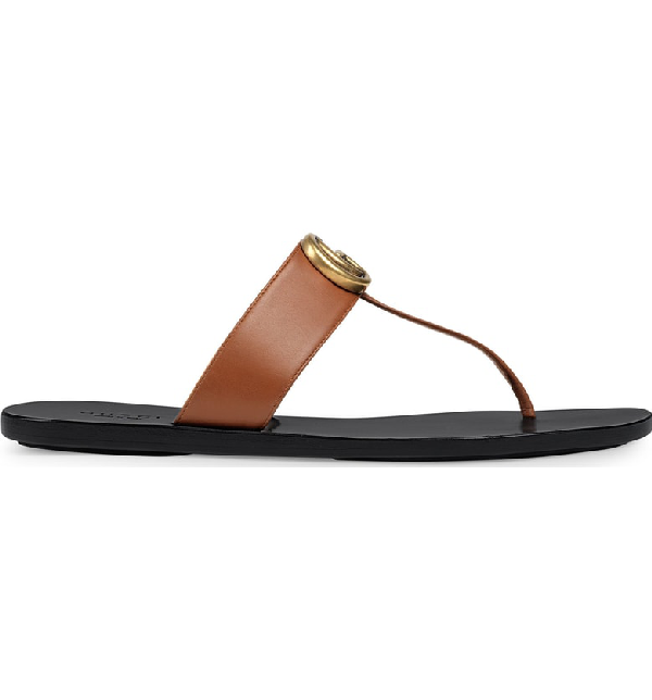 Gucci Marmont Logo-Embellished Leather Sandals In Brown
