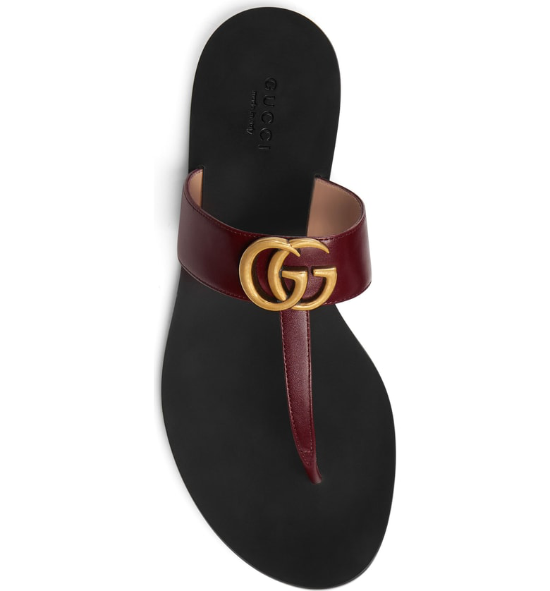 3dff1398ca Leather Thong Sandal With Double G in Red