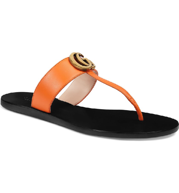 Gucci Women's Marmont Leather Thong Sandals In Yellow