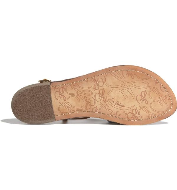 89b32dffb89e1c Sam Edelman Gigi Patent Leather Flat Thong Sandal In Almond