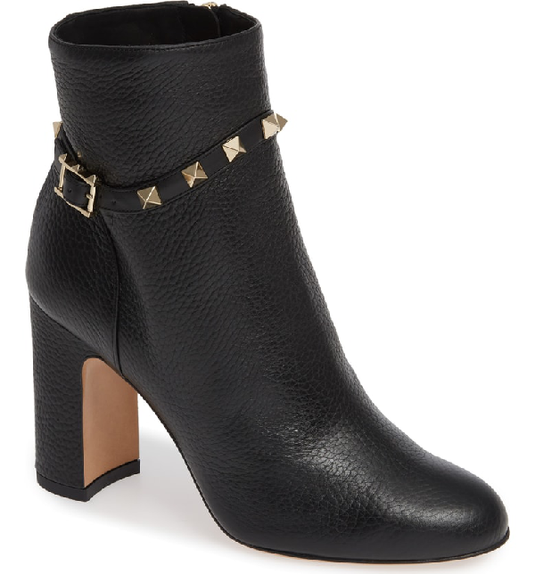 1154c4f58f8a Valentino Rockstud Pebbled Leather Ankle Booties In Black