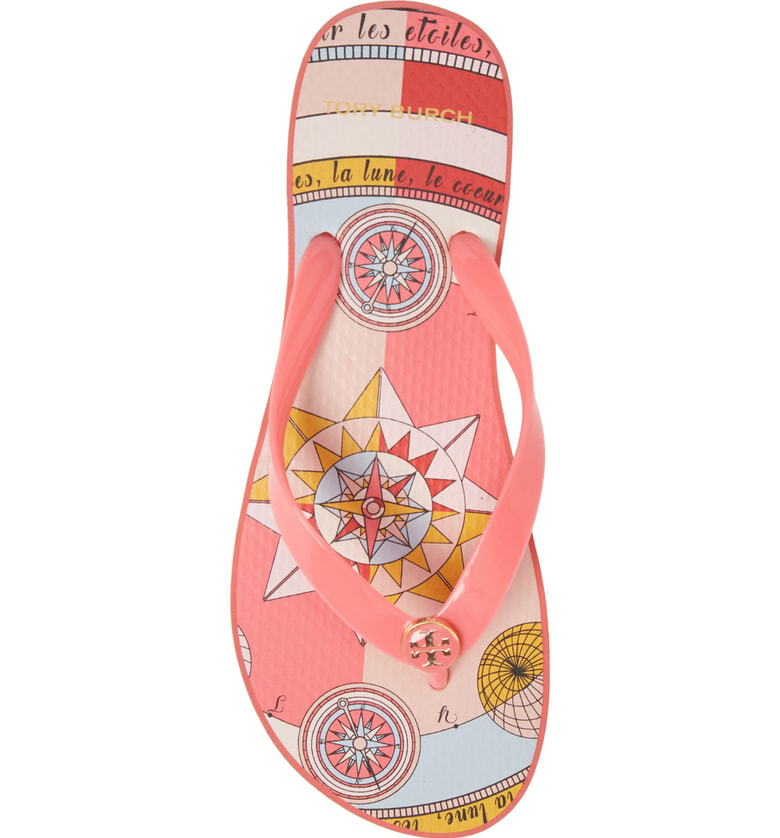 47c5b0e888e2 Tory Burch Printed Carved Wedge Flip-Flop In Pink Paradise   Pink  Constellation