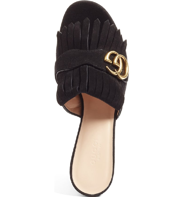 c7b9f4a6f74 Gucci Marmont Fringed Logo-Embellished Suede Mules In Black